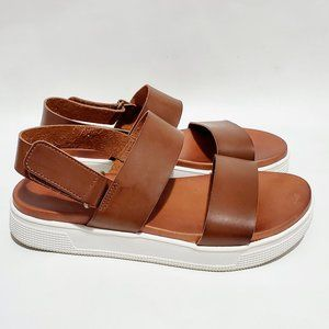 MIA Brown Faux Leather Platform Sandals Sz 8